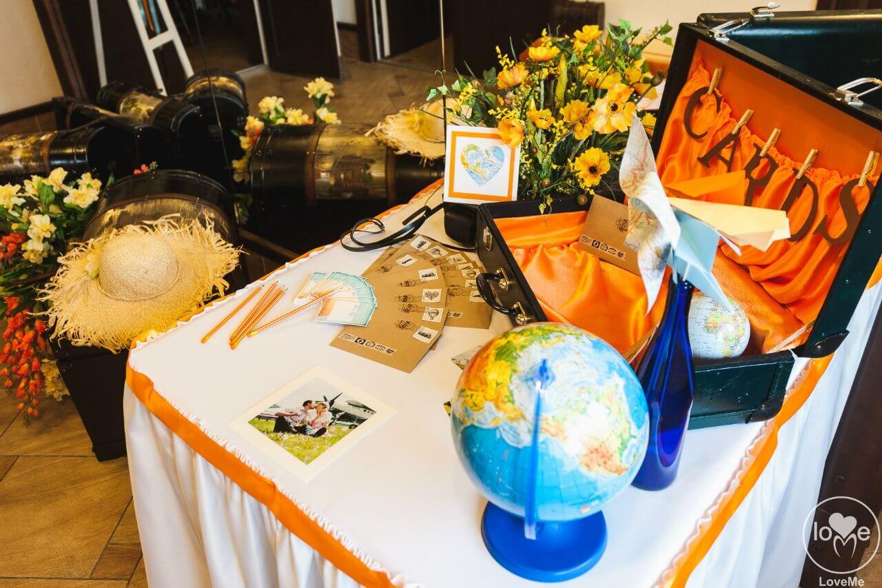 стол дарения с глобусом чемодан Свадьба в стиле путешествия Шале Могилев Организация свадьбы декор украшение зала свадебное агентство ЛавМи