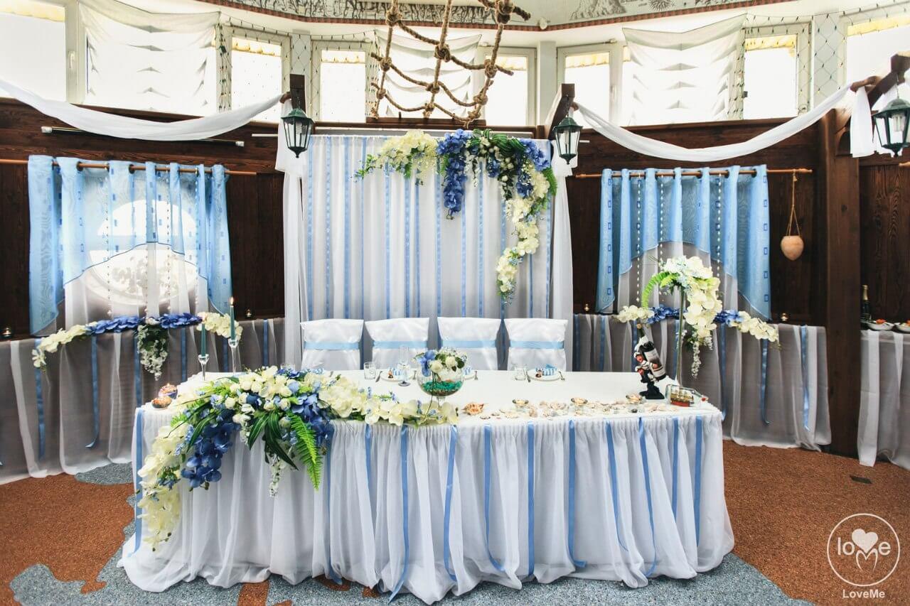 стол молодых президиум Санта Мария морская свадьба Могилев организация и декор свадьбы украшение зала